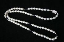 5mm White and Amethyst Oval Freshwater Cultured Pearl Necklace with 925 Silver beads and  Clasp